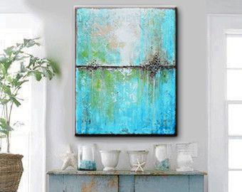 ORIGINAL große Kunst Öl Gemälde abstrakt blau von ChristineKrainock