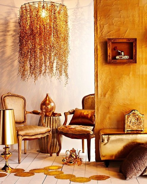 Gold decor. Styled by Heather Nette King.