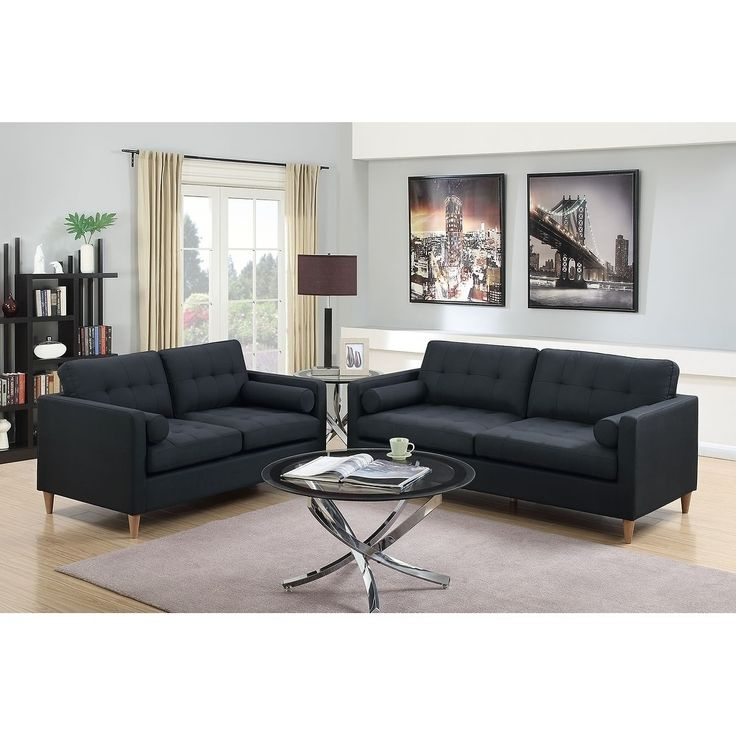 black leather living room furniture sets%0A Bobkona Malvern Linenlike Polyfabric  Piece Sofa and Loveseat Set   Black       polyfiber  linenlike fabric