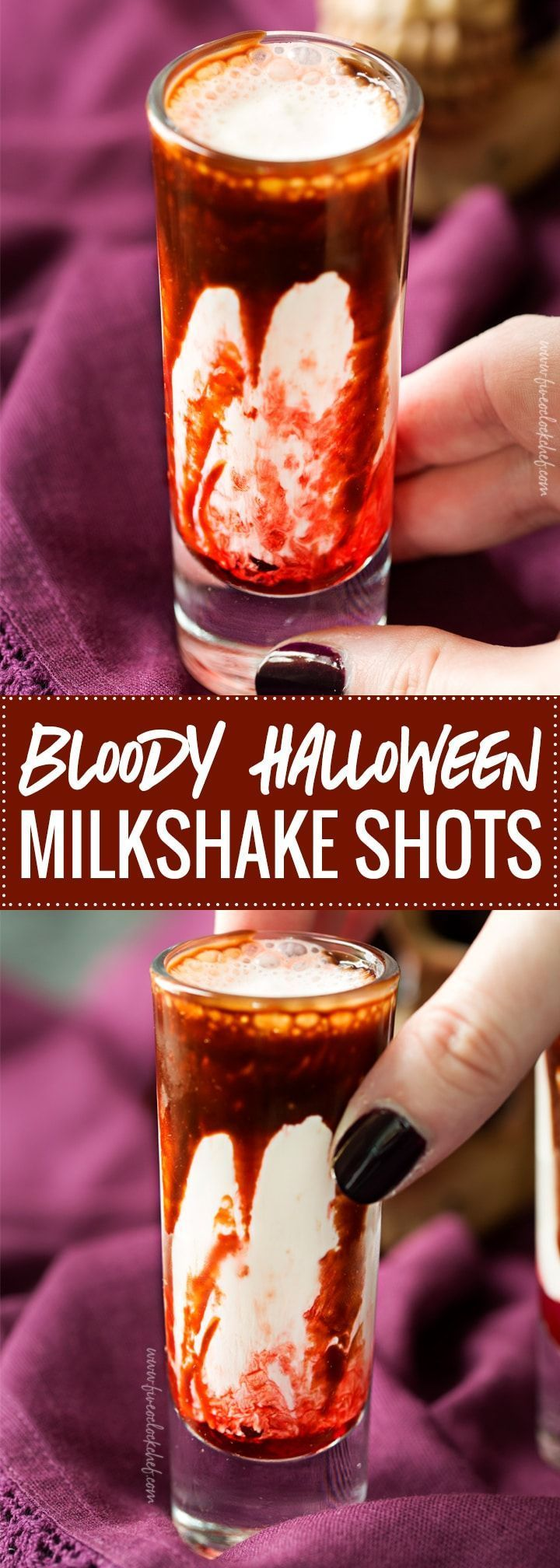 Bloody Milkshake Halloween Shots | Gory and delicious, these vanilla milkshake shots take just 5 ingredients to make, and are perfect for a Halloween party! | https://www.the5oclockchef.com | #shots #milkshake #halloween #party