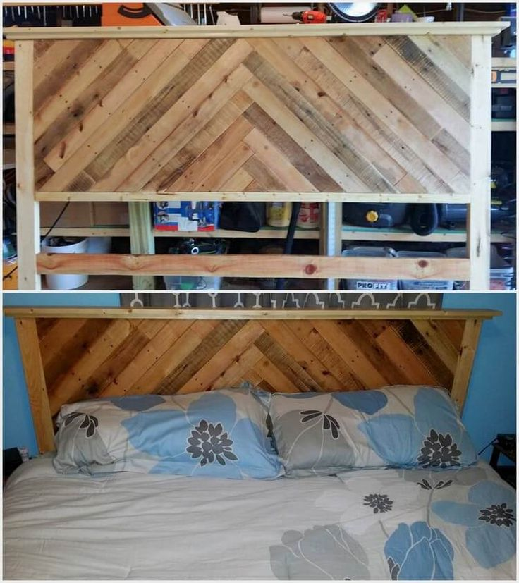 Wood pallet headboard in the living room is much coming out to be a greater demand in so many houses. In this wood pallet headboard concept you will view the favorable concept of the Chevron designing that do give out an attractive look to the whole bedroom.
