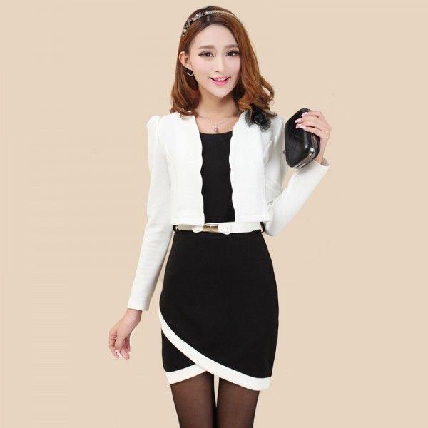Vogel elegante professionele vrouwen nieuwe winter lange mouwen tweedelige jurk stap rok OL temperament stiksels