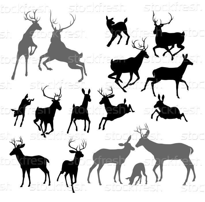 鹿 · 动物 · 剪影 · 侧影 · 讨好 · 二 - 插图 © Christos Georghiou (Krisdog) (#3448314) | Stockfresh