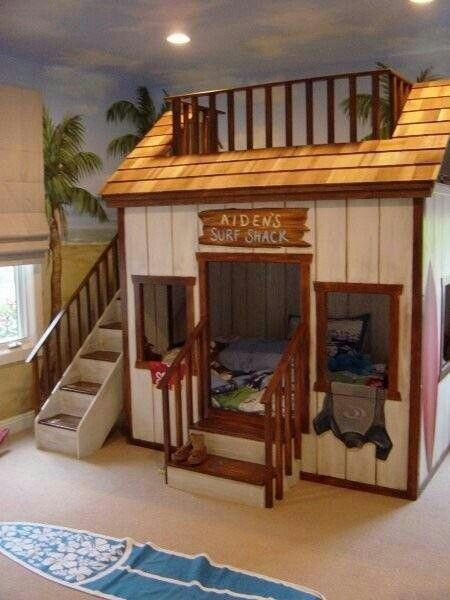 Awesome bunk bed idea surf shack hot tub rec room for Boys loft bedroom ideas