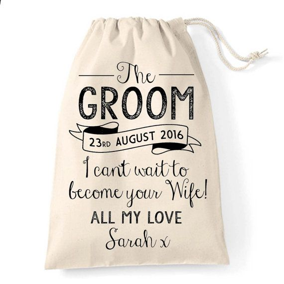Personalised vintage rustic groom gift bag for the Big Day great wedding gift bag for your husband to be