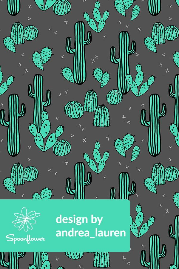 Cactus Illustration by andrea_lauren - Hand illustrated cactus plants in turquoise on a charcoal background on fabric, wallpaper, and gift wrap.  Playful cacti and spurs on a dark gray background with bright neon turquoise cactus plants in a southwest style.  Perfect cactus pattern for wallpapering a powder room or a kid's room, or for making handmade throw pillows or napkins!  #diy #fabric #wallpaper #cactus #cacti #turquoise #illustration #surfacedesign #renovation #kidsroom #southwest