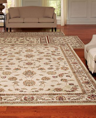 KM Home Area Rug Set Florence Collection 4 Pc Isfahan White