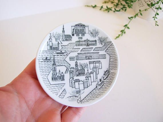 Vintage little Stockholm plate // Rörstrand collector's
