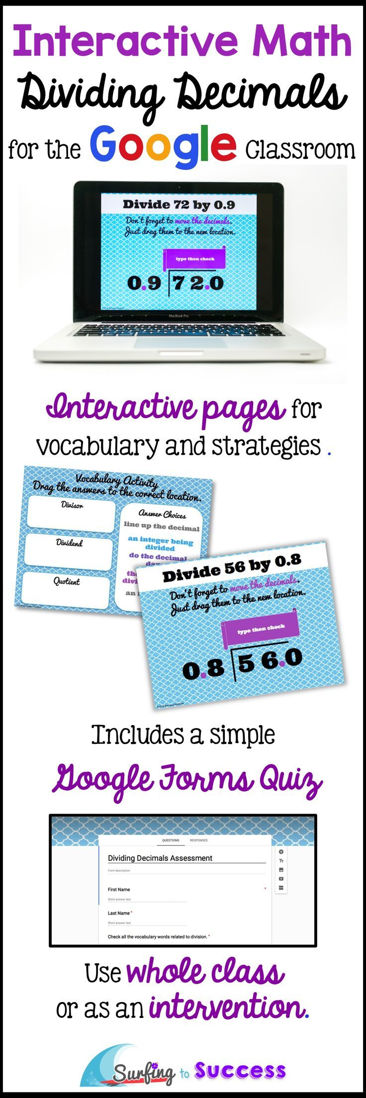 Digital Interactive Lesson and Practice for Dividing Decimals   Step by Step   Digital Interactive Notebook Pages   Whole Class or Intervention   Google Forms Quiz Provided