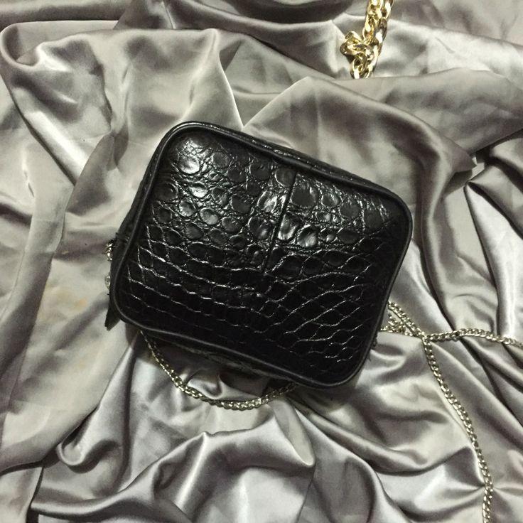 Genuine crocodile evening bag. Black leather small bag. Crocodile leather purse. Small black leather purse. Croco leather purse. by StudioANTU on Etsy