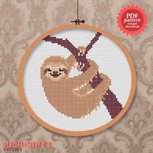 Cute sloth cross stitch pattern