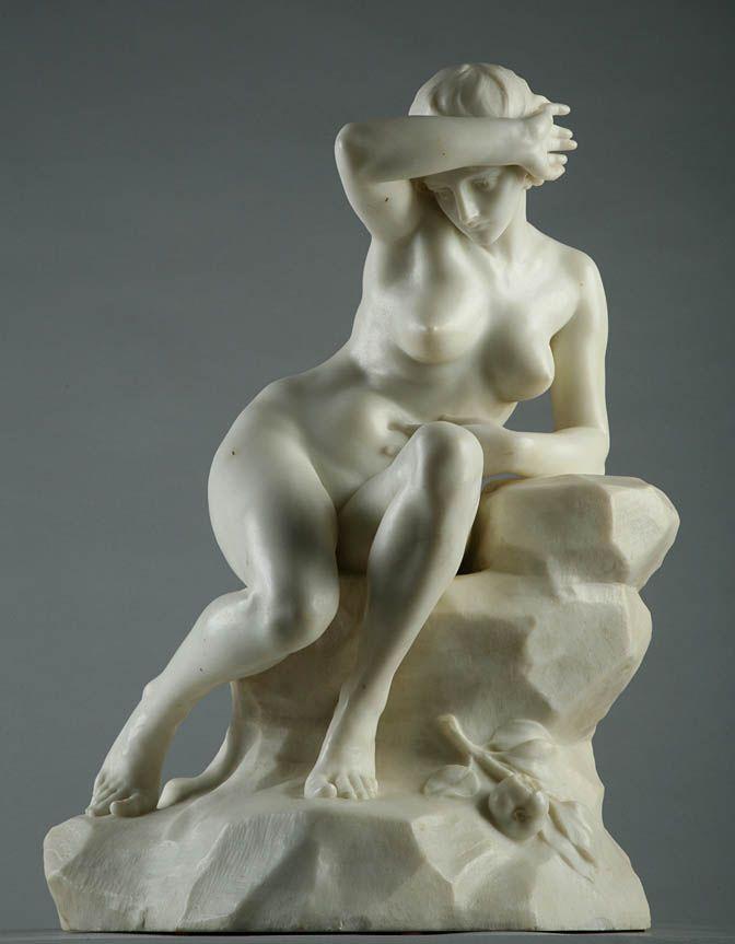 Marble nude, boy toying girl