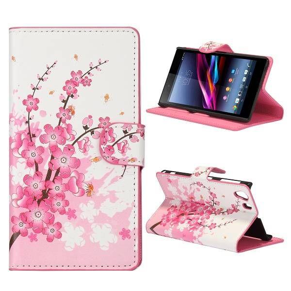 Bloemen patroon booktype hoesje voor de Sony Xperia Z1