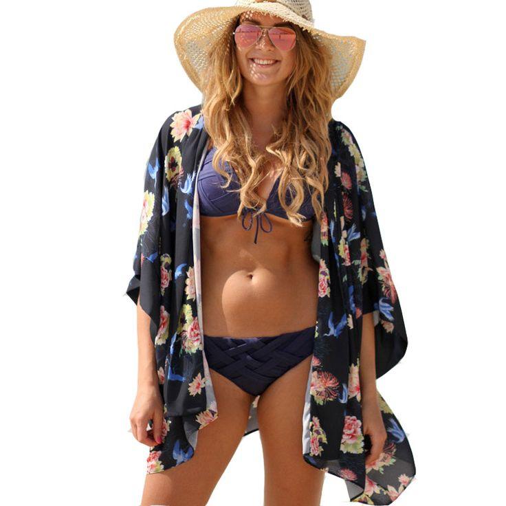 Sexy praia capa Ups banho das mulheres terno 2016 flor moda impresso Bikini Swimwear Cover Up Beach Wear Swimwear Plus Size em Saídas de Praia de Roupas e Acessórios no AliExpress.com | Alibaba Group