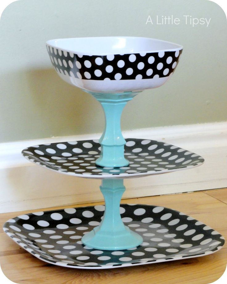 A Little Tipsy: Polka Dot Fruit Stand..could use heavy plastic dishes and the color combinations are endless. Could spray paint for further customization, and use as jewelry organizer in bathroom
