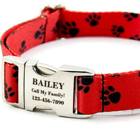 Red Paw Print Custom Dog Collar Personalized by PupPanache