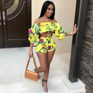 f14ef609c8a94 Women Sexy Summer Outfits Off Shoulder Half Sleeve Crop Tops and Shorts  Suits Casual Beach Two Piece Set
