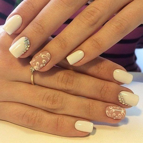 Beautiful autumn nails, Beautiful wedding nails, Beige gel polish, Evening nails, Fall nail ideas, Festive nails, Medium nails, ring finger nails