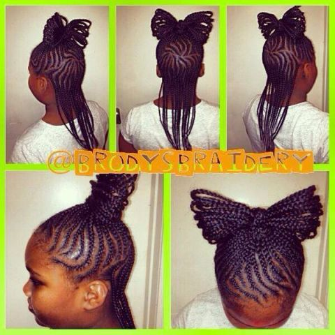 Braided bow style by @brodysbraidery instagram  To grow your hair longer click here - http://blackhair.cc/1jSY2ux