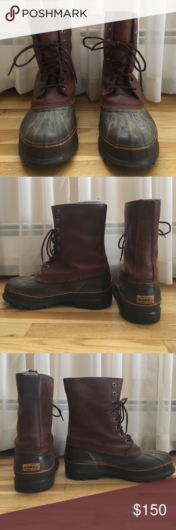Sorel Men's Boots Sorel mens boots, used only a handful of times. Size 10 and has an interior removeable boot for extra warmth. A bit worn at the top probably from salt or just normal wear and tear. Sorel Shoes Boots
