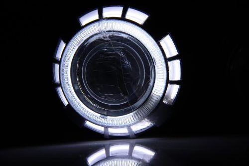 Super Farol Projetor Xenon Led Duplo Angel Eyes! H1 H3 H4 H7