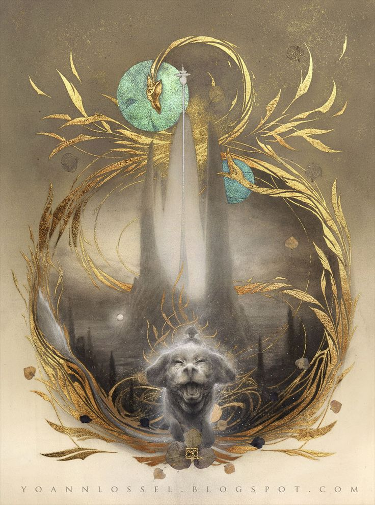 The Neverending Story movie fan art with gold leafing and pencil drawing - Auryn by Yoann-Lossel