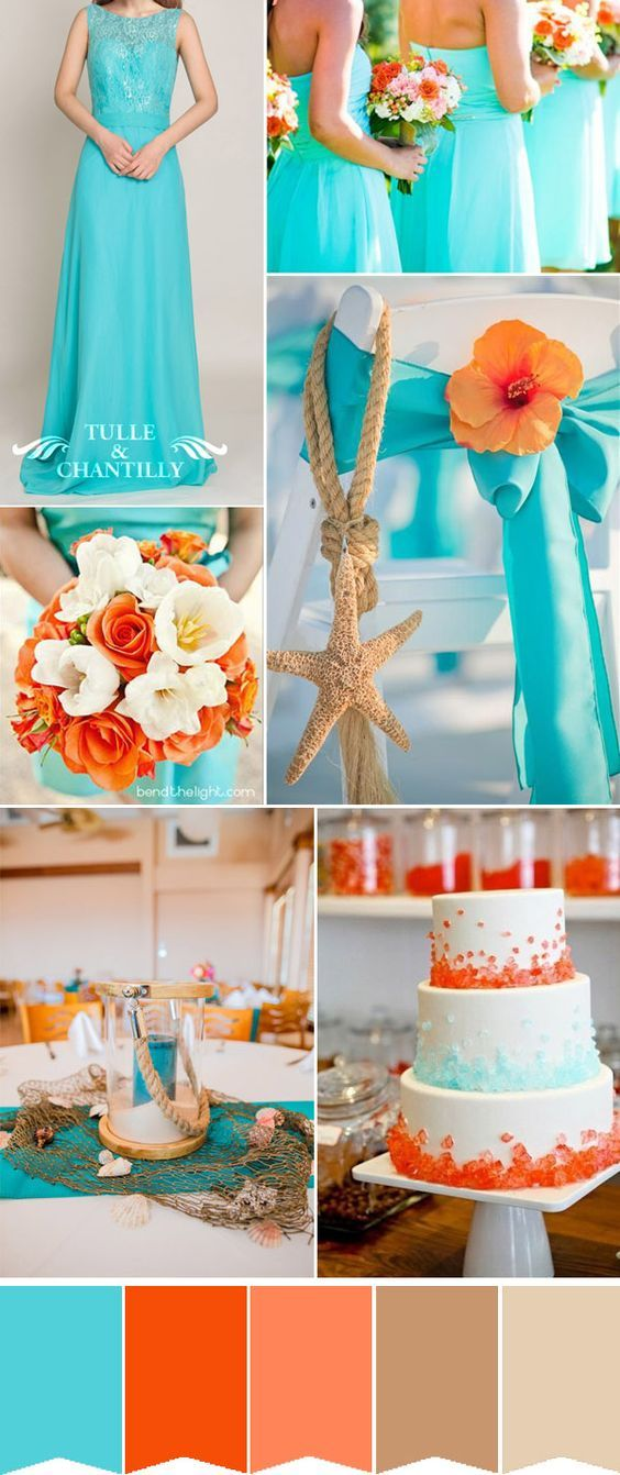 gorgeous tiffany blue and orange beach wedding inspiration
