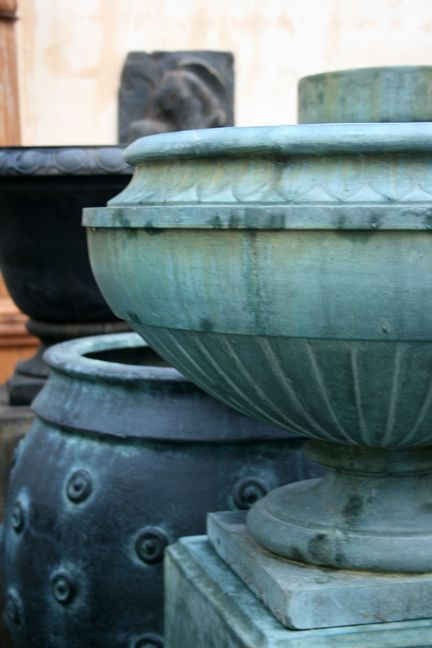 GFRC Urns . there are a dozen salts that give greens and blues on mineral surfaces like cement ! many of the best colors come from useing layers of different chemicals