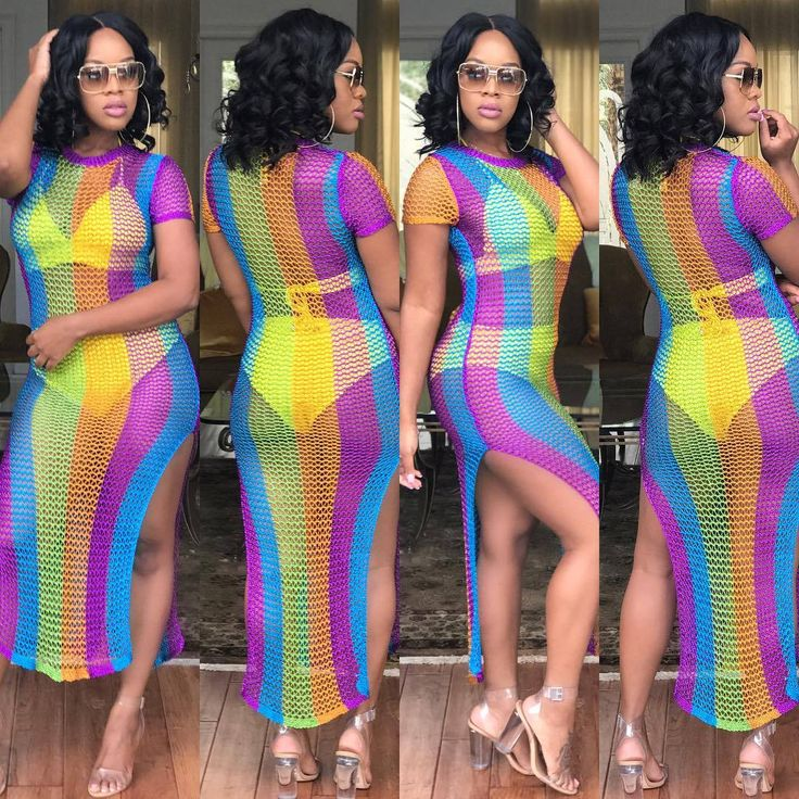 >> Click to Buy << Dwayne Sexy Rainbow O-Neck Pareo Mesh Stripes In Colors Metallic Long Dresses Summer Beach Dress  Women Bohemian Beach Clothes #Affiliate