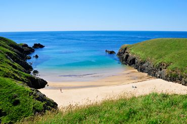 Porth Iago and its secluded bay is just a short drive up the coast from Ty Halen, Wales, UK