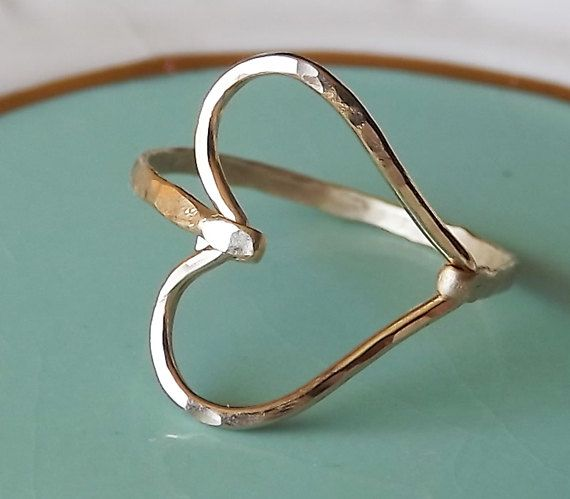 Hammered Sideways Heart Gold Filled Ring by BellatrinaJewelry