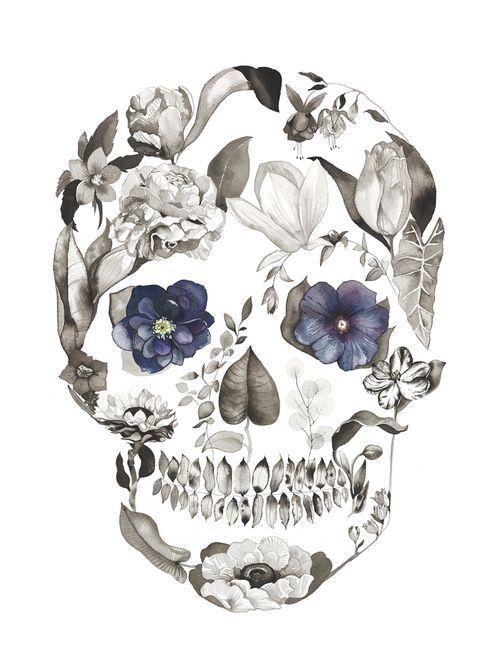 Hellebore by Sarah Voyer watercolor flower skull – me
