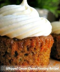 CREAM CHEESE FROSTING THAT DOESN'T RUN OFF YOUR CUPCAKES: Mix 1/4 c. softened butter with 3 cups powdered sugar and 1 tsp. vanilla.  Add 8 oz. cold cream cheese and mix until smooth.
