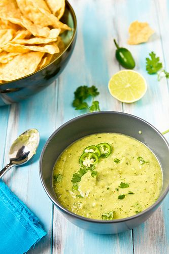 Houston-Style Green Salsa: This is one of our fave recipes. It's like verde sauce, blended with avocados. Yum!