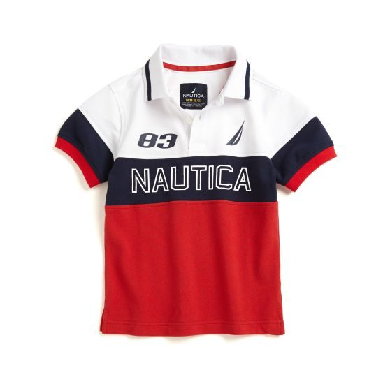 Boys' Color Block Polo Shirt - A colorblock in red, white and blue makes this polo shirt a must-have for the season ahead!
