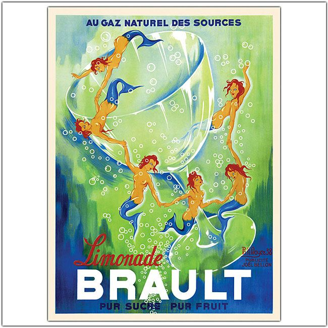 Add a dash of French flair to any room with this retro framed wall art by Phillipe H. Noyer. The vintage advertising poster for lemonade features playful blue-tailed mermaids swimming in a sea of green bubbles for a look both sassy and sophisticated.