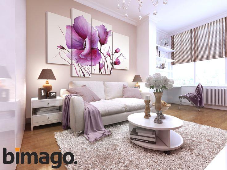 Obraz z makiem nie nietypowej kolorystyce! Niesamowity wieloczęściowy obraz ręcznie malowany będzie pięknym uzupełnieniem aranżacji salonu w odcieniach bieli i fioletu