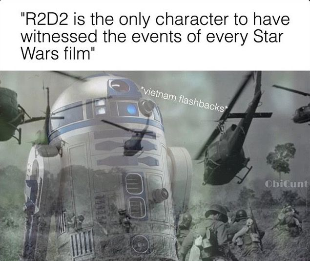 Except for C-3PO. But of course his memory was wiped between episodes 3 and 4, so he didn't remember anything from the prequel era.