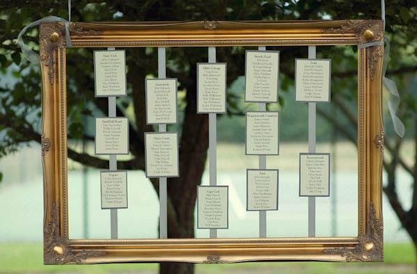 Wedding seating plan made from a single antique frame with the table cards hanging down from ribbons. More mirror and frame ideas at http://www.toptableplanner.com/blog/mirror-and-frame-wedding-seating-plans