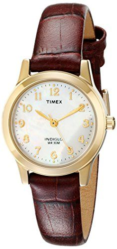 Add a classic complement to your business wear with the #Timex Women's T21693 Elevated Classics Dress Brown Leather Strap Watch. It features a round gold-tone wa...