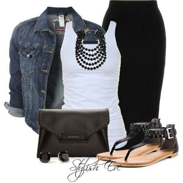 Casual - white tank top, black pencil skirt, denim jacket, black sandals