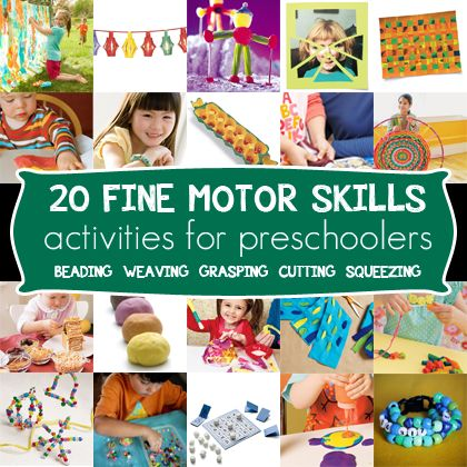 Great ideas for working on fine motor skills with your tots -- these 20 projects and crafts help build fine motor skills. Nice guide by skill set!