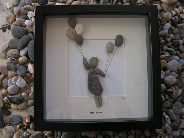 Pebble Art Picture.  Unique Gift Idea Birthday.  Balloons Girl floating Can be purchased from http://www.amorrusticarts.com/store/c3/Pebble_Pictures.html