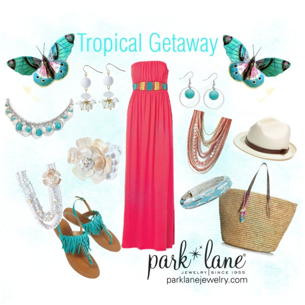 Tropical Getaway, created by parklanejewelry on Polyvore Park Lane Jewelry featured: Maui necklace, bracelet & earrings, Ocean Breeze bracelet, St. Tropez necklace & Cabo necklace & earrings