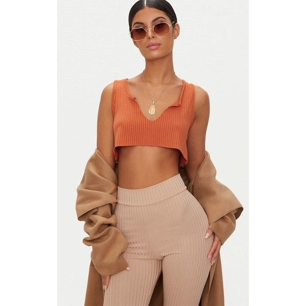 Tobacco Rib Deep V Raw Edge Crop Top ($8.31) ❤ liked on Polyvore featuring tops, sweaters, brown, cropped v neck sweater, brown crop top, v neck sweater, brown top and beige top