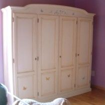 Wardrobe with butterfly handpainted  ♥ armadio-4-ante-farfalle