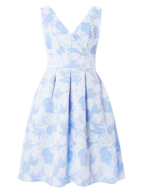 **Luxe Blue Leaf Jacquard Dress - View All Dresses - Dresses - Dorothy Perkins