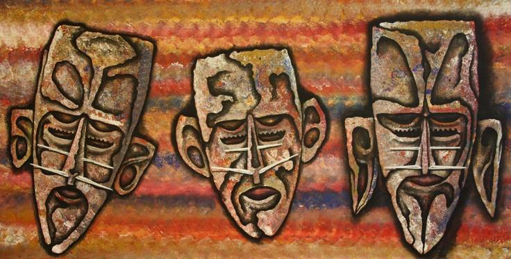 Alick Tipoti - Mawal 2 (2012) - 71x137cm - acrylic on canvas - IDAIA - International Development for Australian Indigenous Art © The Artist