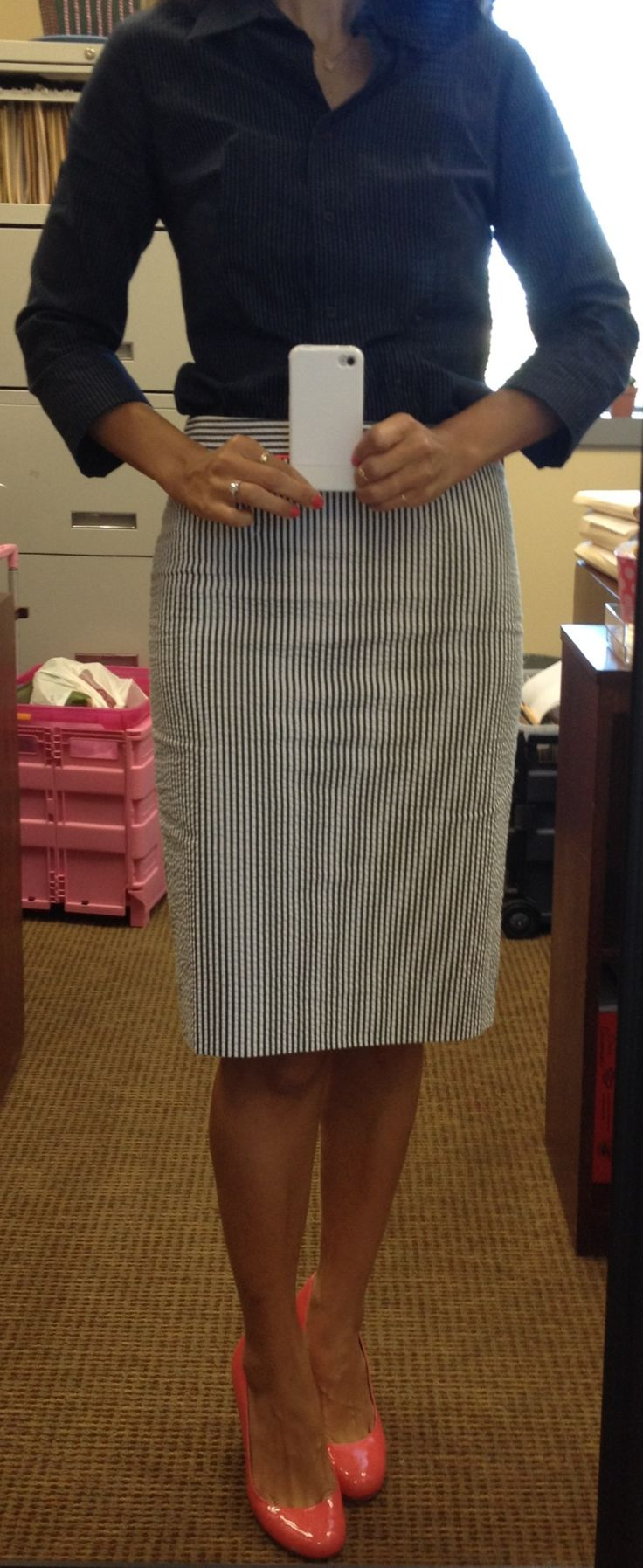 Work outfit: J.Crew seersucker skirt + coral