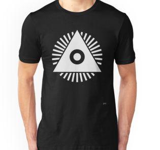 @benbureda #icon Unisex T-Shirt @redbubble #eye #eyeoftheprovidence #minimalissimo #rays #pyramid #pyramis #onedollarbill #ingodwetrust #watch #god #all-seeing #divineprovidence #seal #annuitcoeptis #black #white
